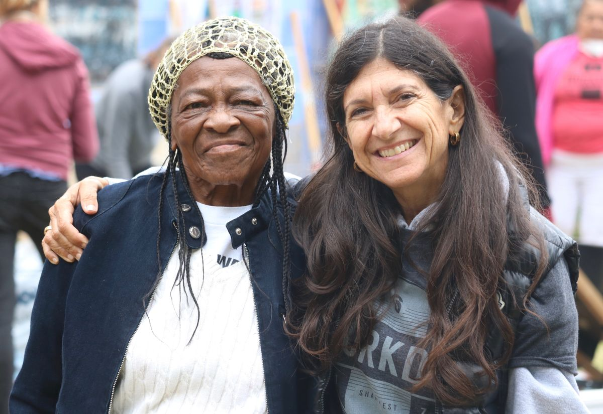Jorja leap and Betty Day at the Watts Leadership Institute Gardens