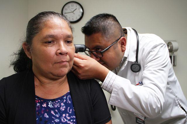 Dr. Jose Javier Hernandez examines Roselle Martinez