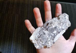 Click to open the large image: Lunar meteorite in hand