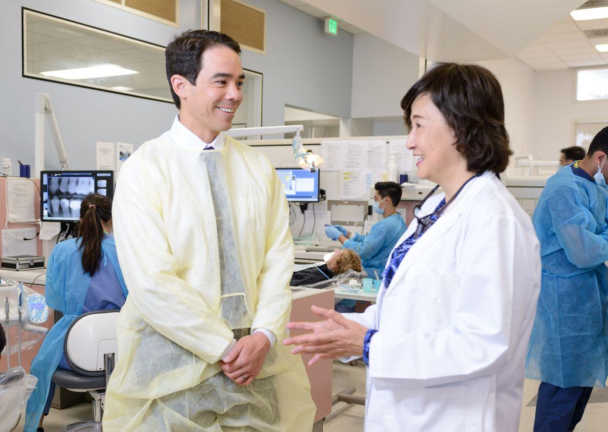 Seto and Chang at dental center
