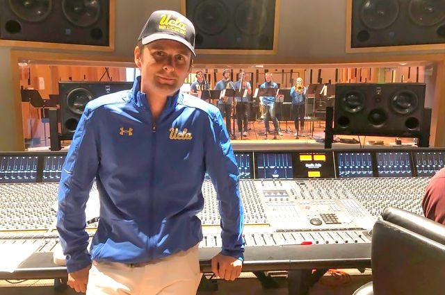 Matt Bellamy in recording studio with UCLA Bruin Marching Band