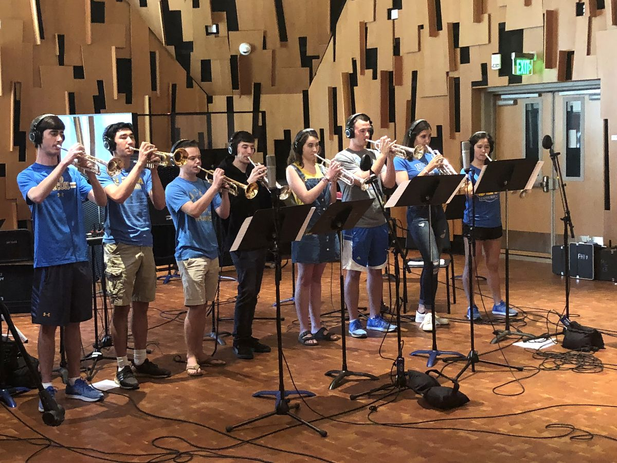 UCLA Bruin Marching Band trumpet section in studio