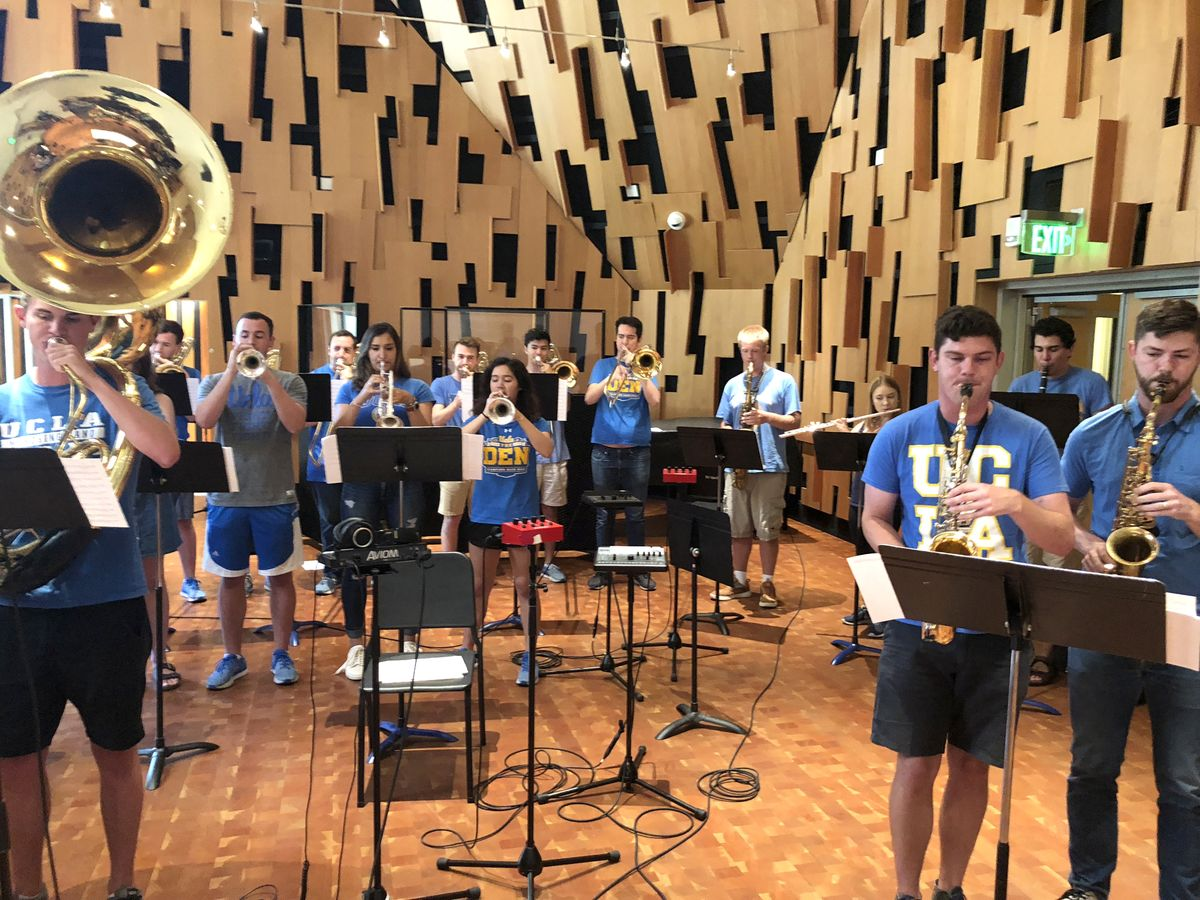 Bruin Marching Band drumline recording in studio