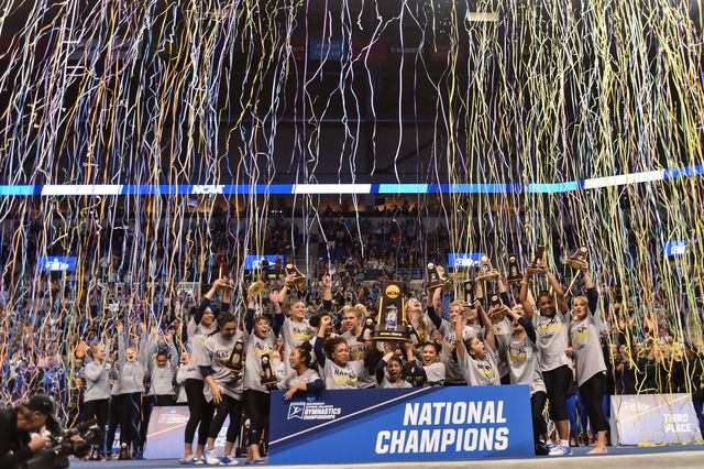 NCAA gymnastics celebration