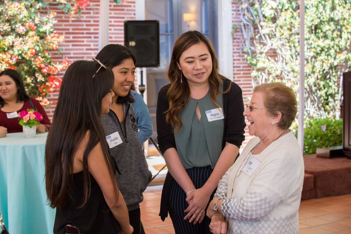 Womens advocacay reception Mrs Block students
