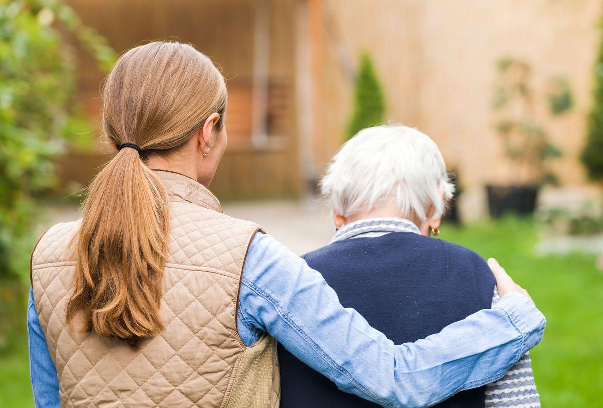 Senior citizen with caregiver