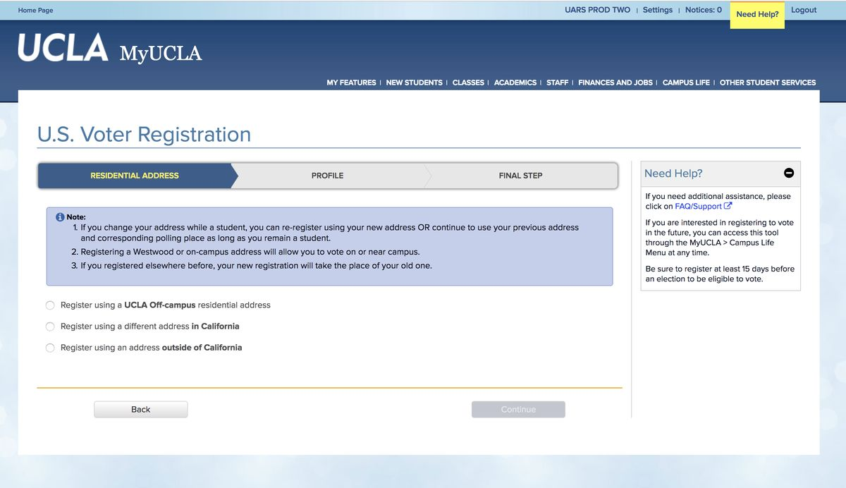 MyUCLA voting registration screen