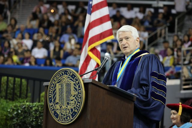 Chancellor Block at commencement