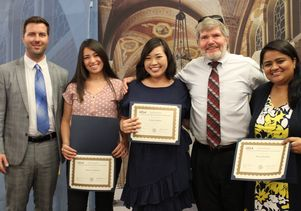 UCLA Retirees Association Staff Scholarship presenters and recipients