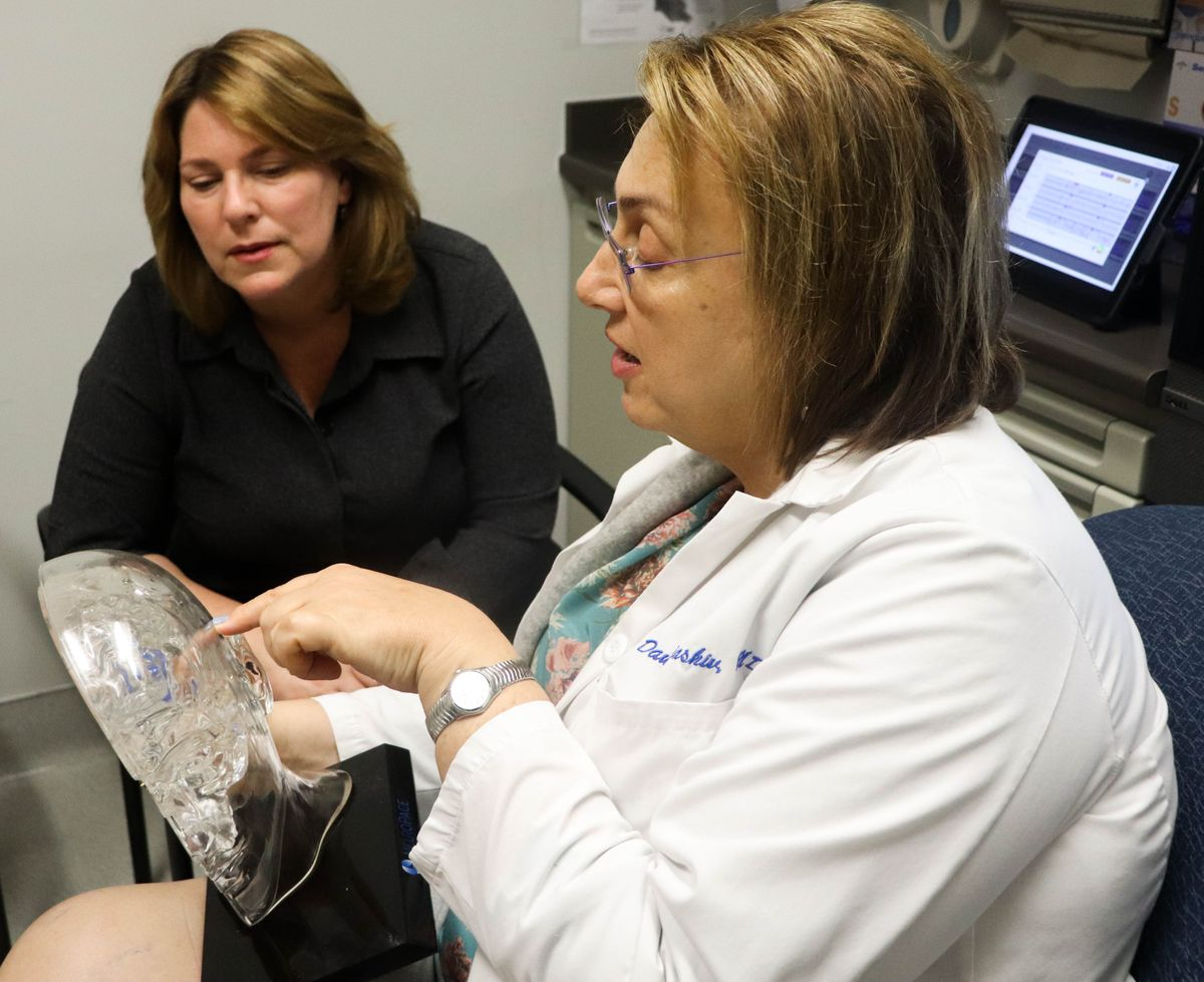 Dr. Dawn Eliashiv, right, and patient Sharon Shafer