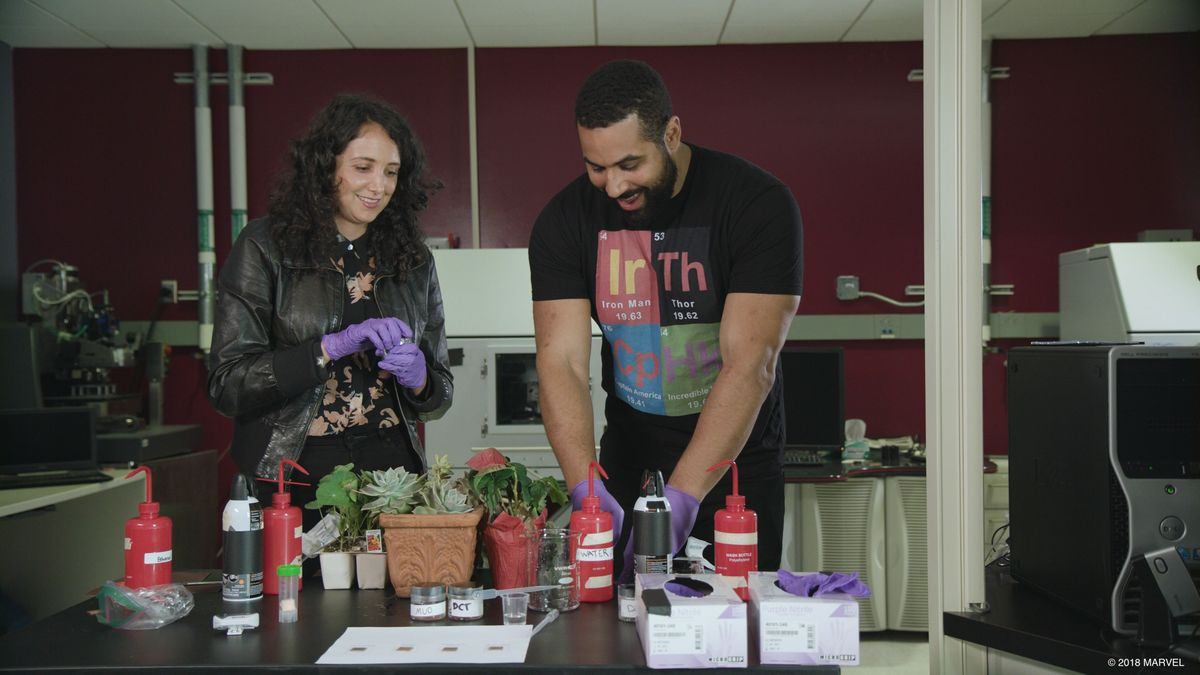 Rita Blaik and John Urschel in lab
