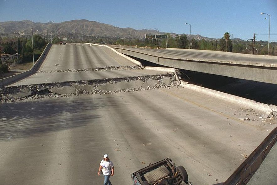 Earthquake damaged freeway
