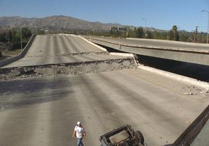 Click to open the large image: Earthquake damaged freeway