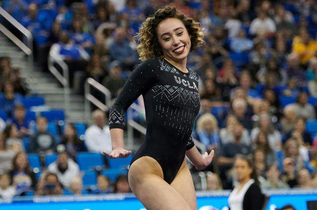 Katelyn Ohashi performing her gymnastics routine