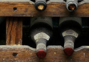Dusty wine bottles
