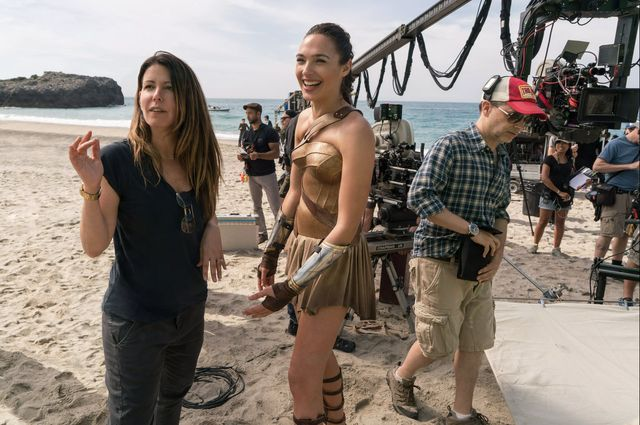 "Director Patty Jenkins and actor Gal Gadot on the set of ""Wonder Woman."""