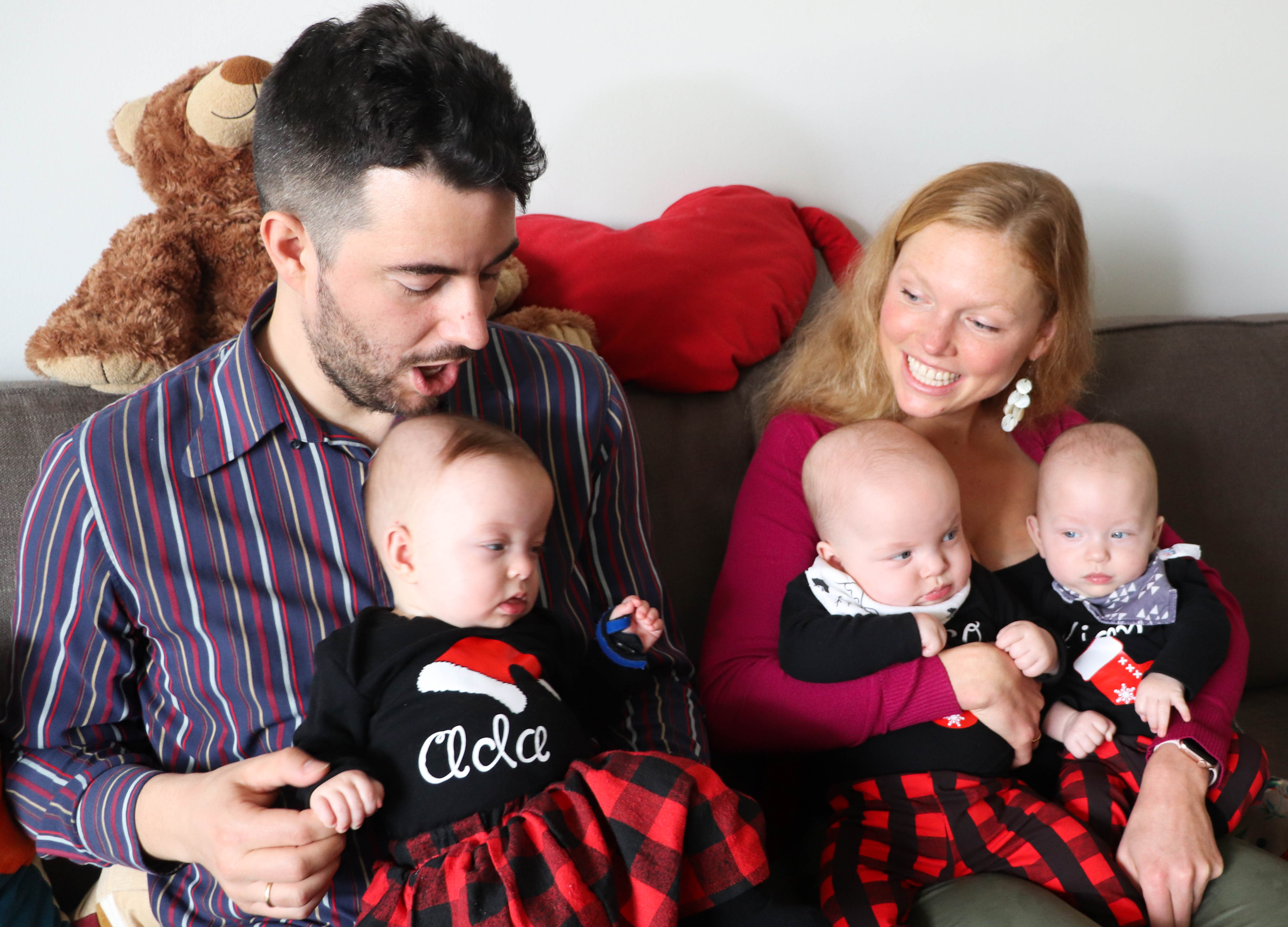 Gregor Martynus and Jana Gallus and triplets