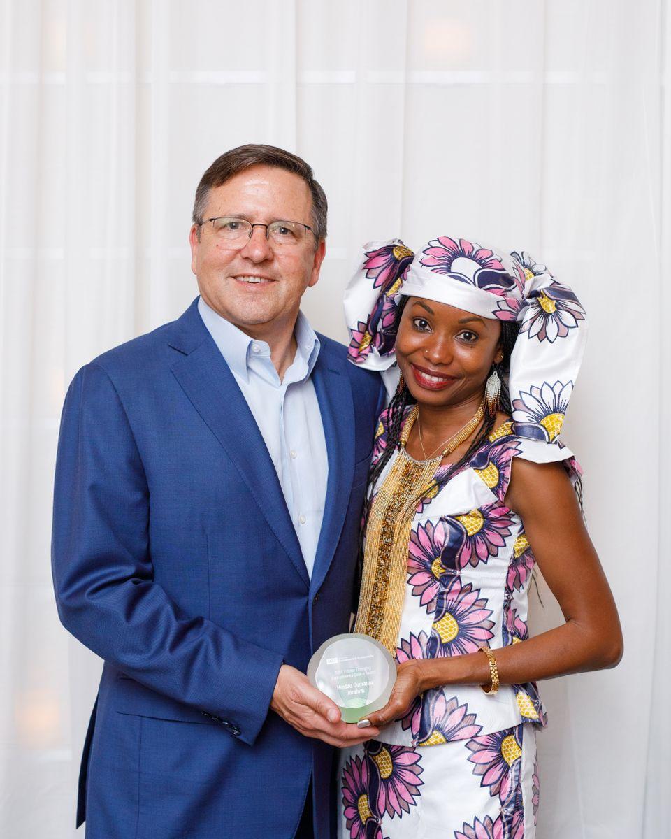 Tony Pritzker with Hindou Oumarou Ibrahim