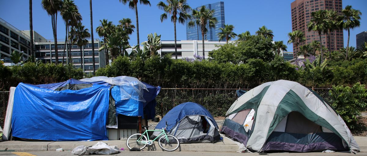 Tents on a Los Angeles sidewalk