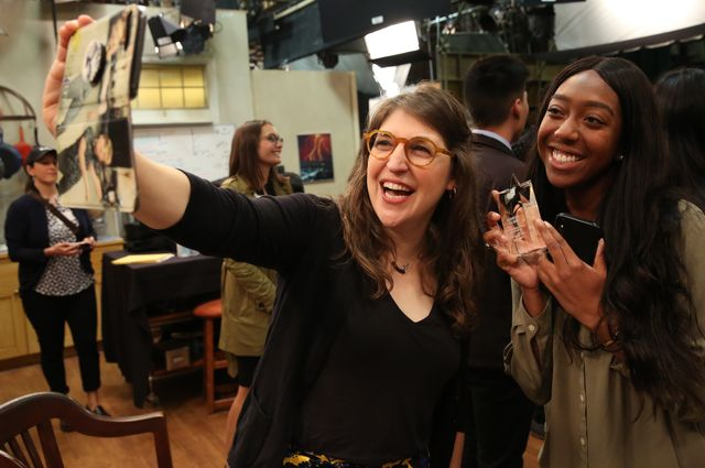 "Actor and UCLA alumna Mayim Bialik takes a selfie with senior Kemeka Corry on the set of ""The Big Bang Theory."""