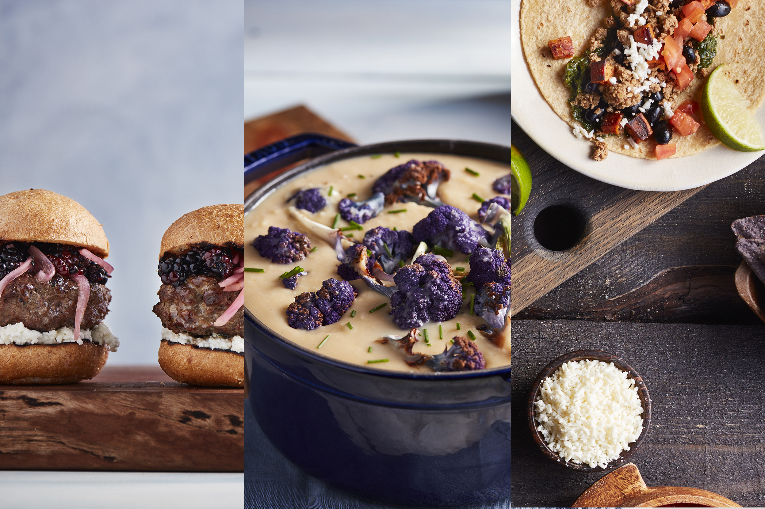 Bison burger sliders, roasted cauliflower soup and tacos from the Bruin Plate Cookbook.