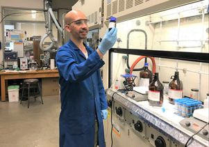 Researcher Maher El-Kady in the lab