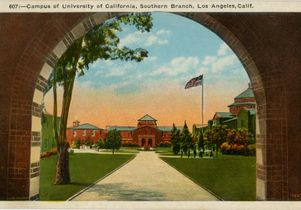 Color postcard of the University of California Southern Branch