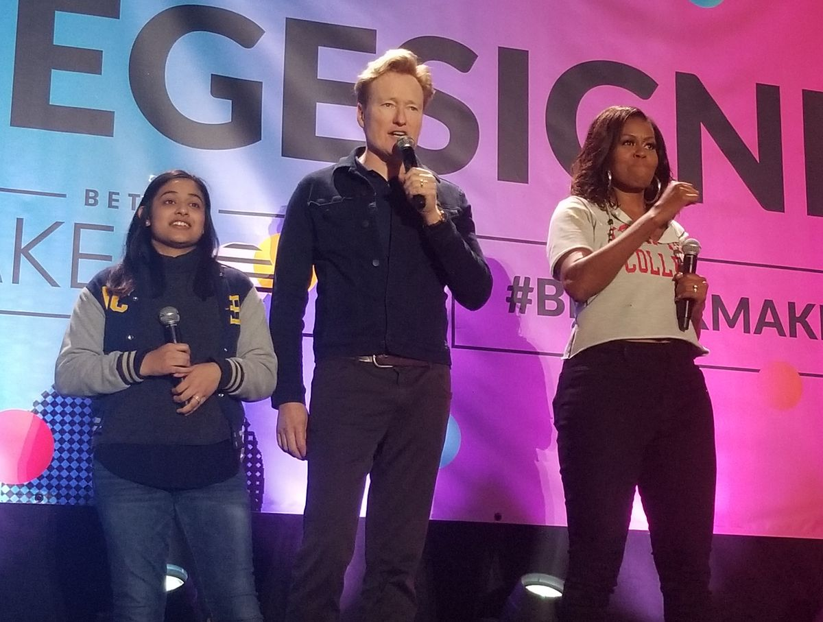 Michelle Obama, Conan O'Brien and student