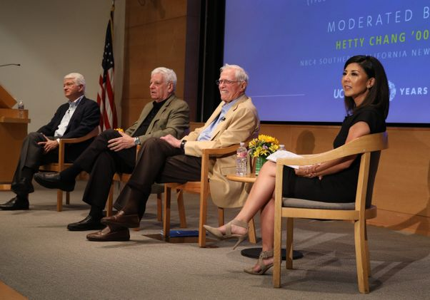 Click to open the large image: Chancellors on stage