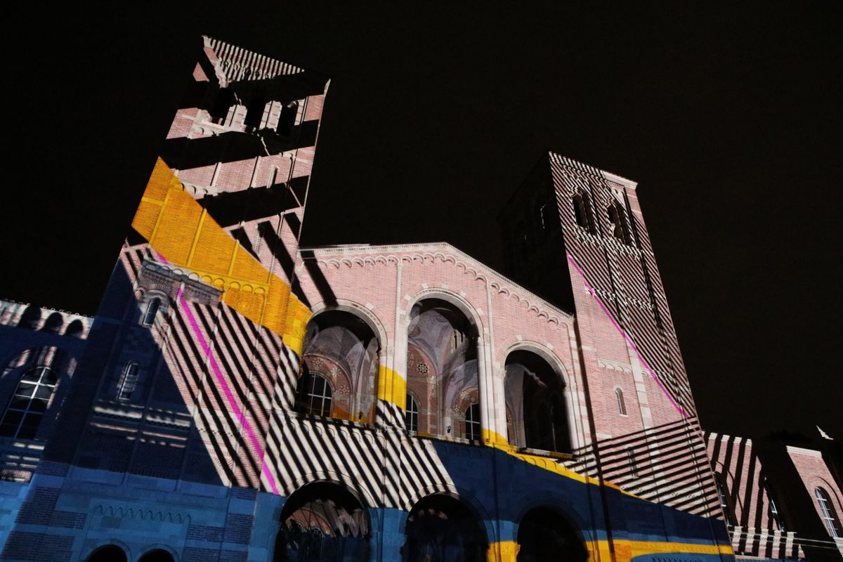 Lighting the Way projection on Royce Hall
