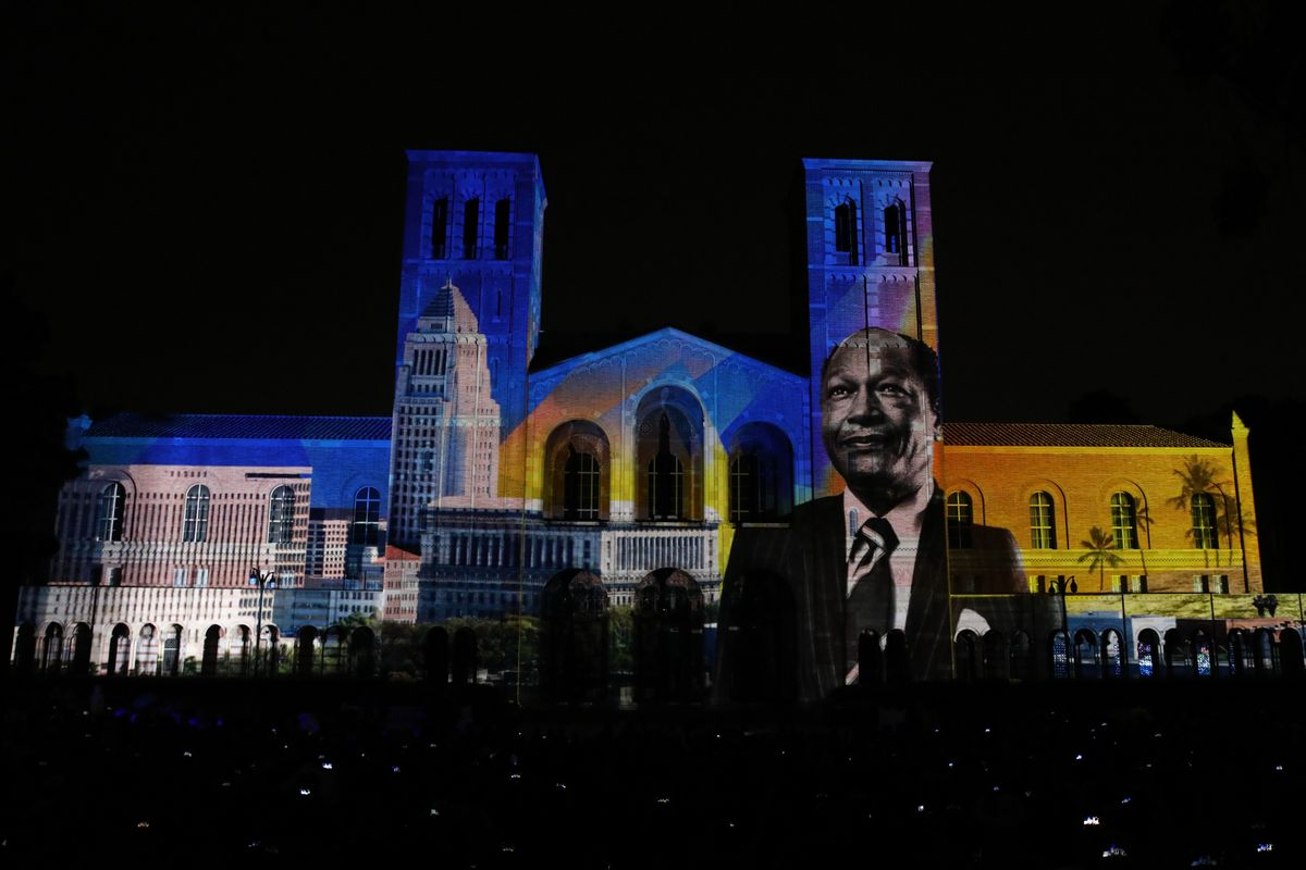 Tom Bradley projected on Royce Hall