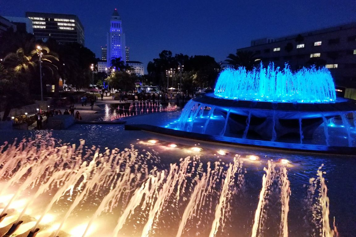 Grand Park fountains and City Hall