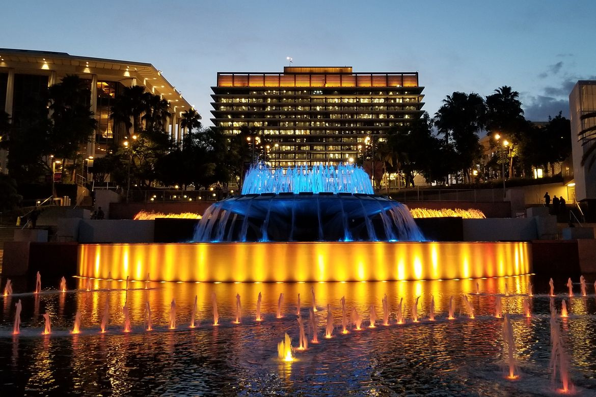 Blue and Gold fountains
