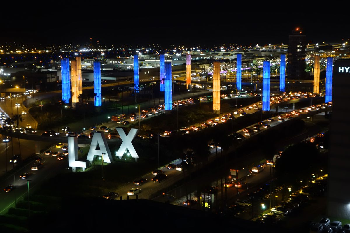 LAX pylons lit blue and gold