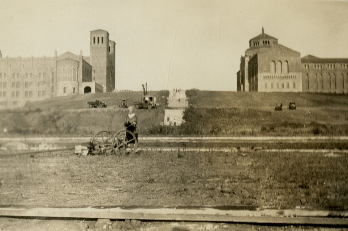 View of Royce Hall, the Library and the future Janss Steps at UCLA.
