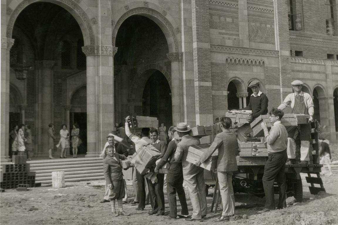 Moving into Royce Hall.