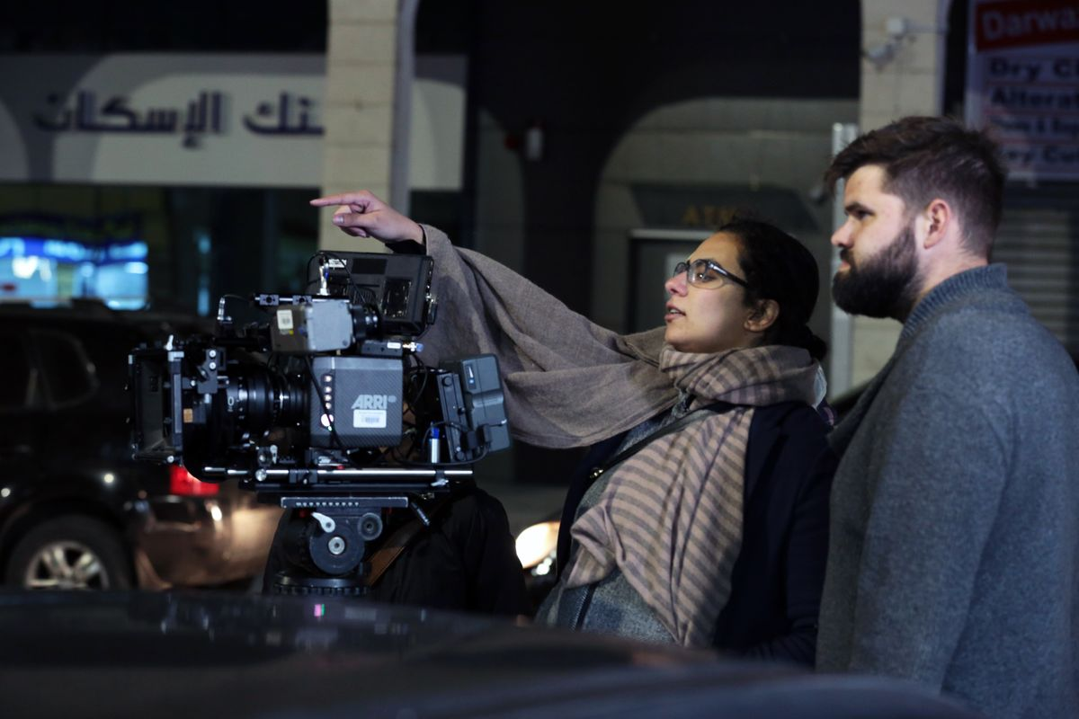 Hanadi Elyan filming at night