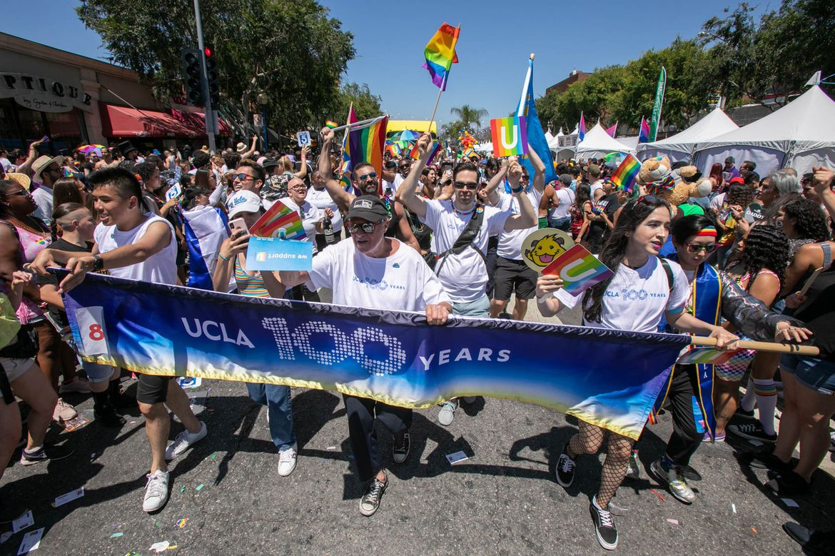UCLA 100 banner in LA Pride parade