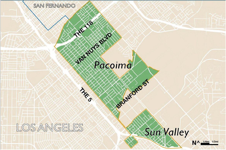Pacoima gentrification study map