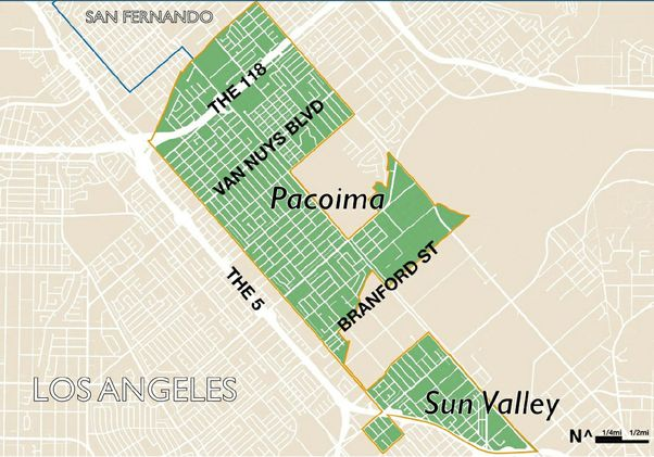 Pacoima gentrification study map