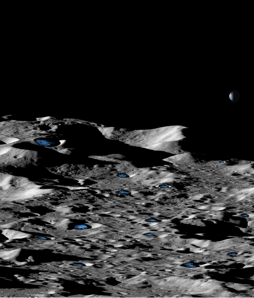 Ice deposits on the moon