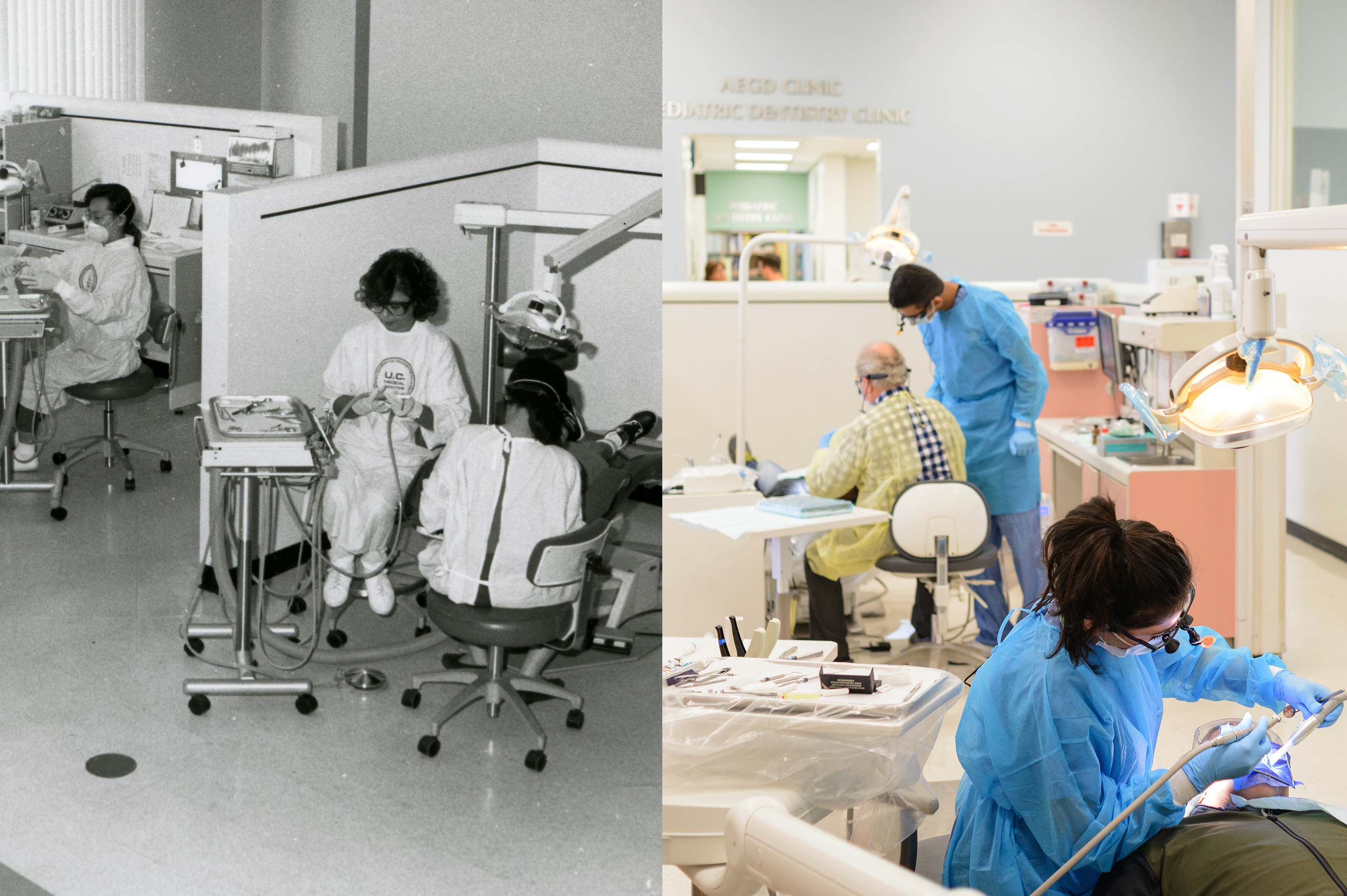 Then and now images of the UCLA Venice Dental Clinic