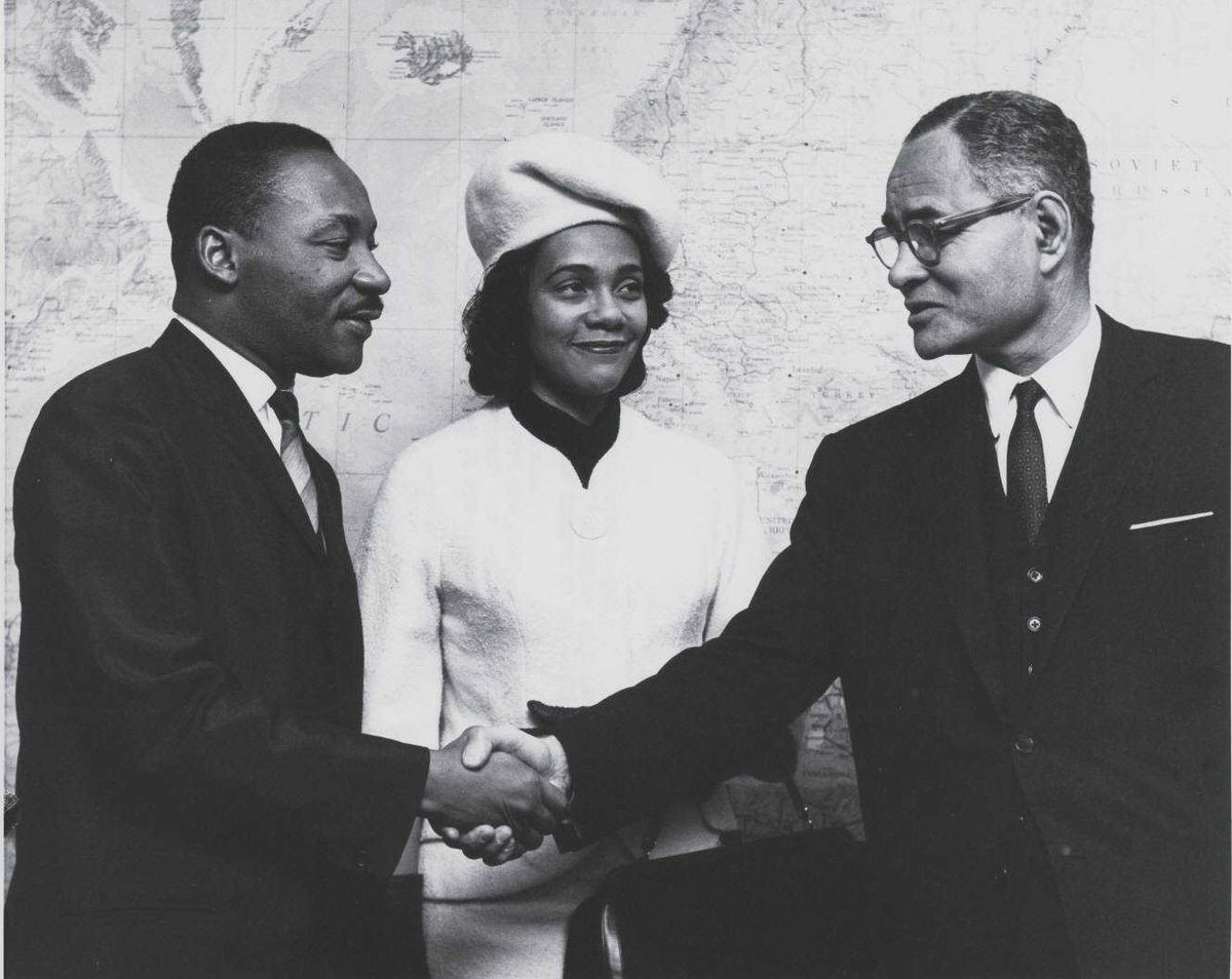 Ralph Bunche with rev. Martin Luther King and Coretta Scott King