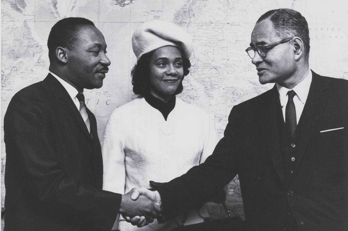Ralph Bunche with Martin Luther King Jr. and Coretta Scott King