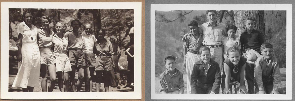 Black and white photographs of girls and boys from UCLA UniCamp