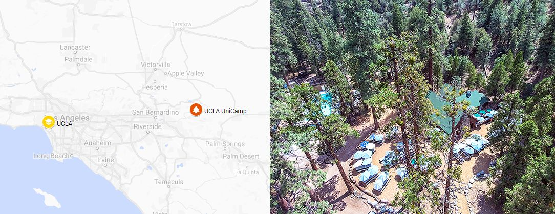 Map of where UCLA UniCamp is side-by-side with a drone shot of UCLA UniCamp.