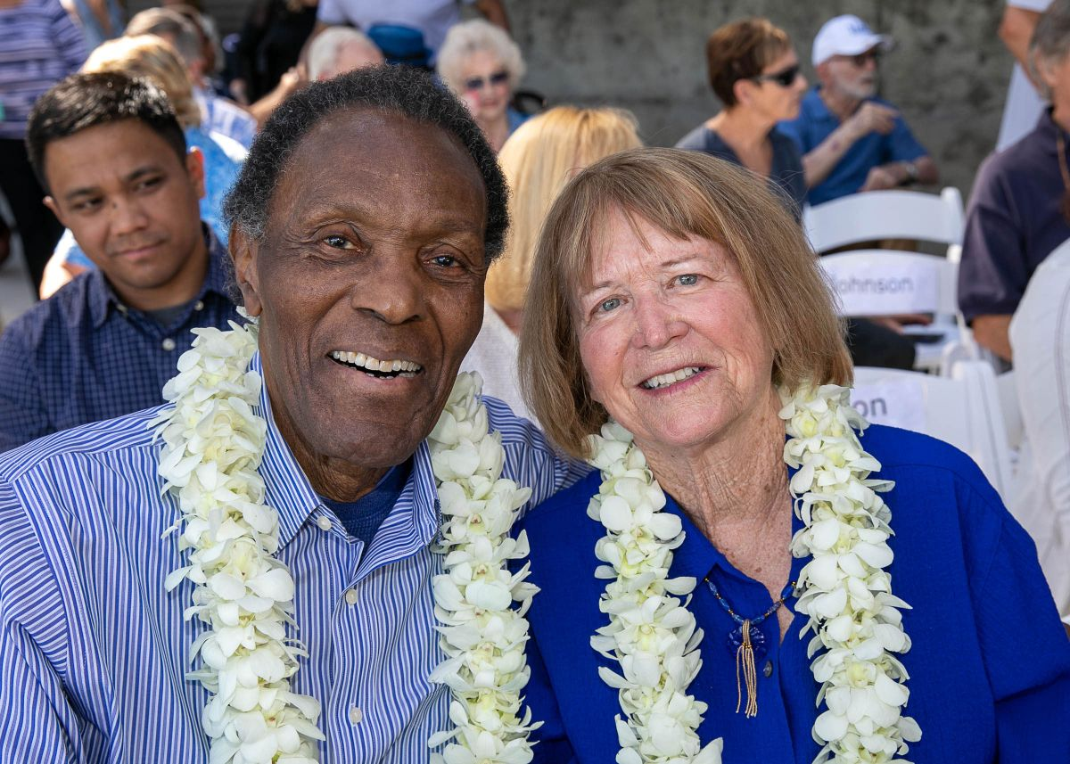 Rafer and Betsy Johnson at the dedication of the Drake Stadium track in their honor.