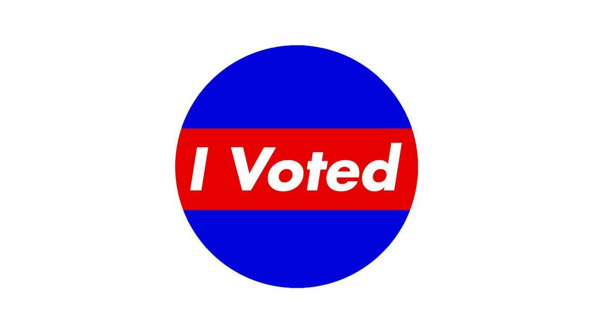 Barbara Kruger I Voted sticker