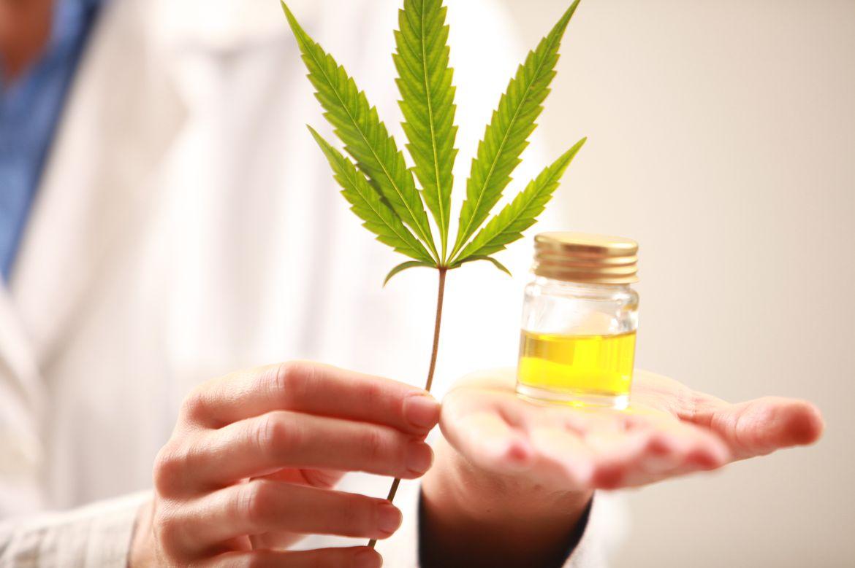 Cannabis leaf and liquid