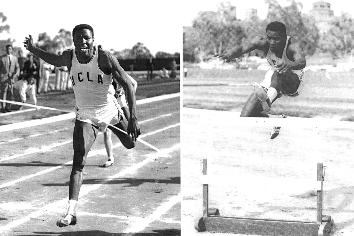 Rafer Johnson in his UCLA days. The 110 meter hurdles was his best decathlon event.
